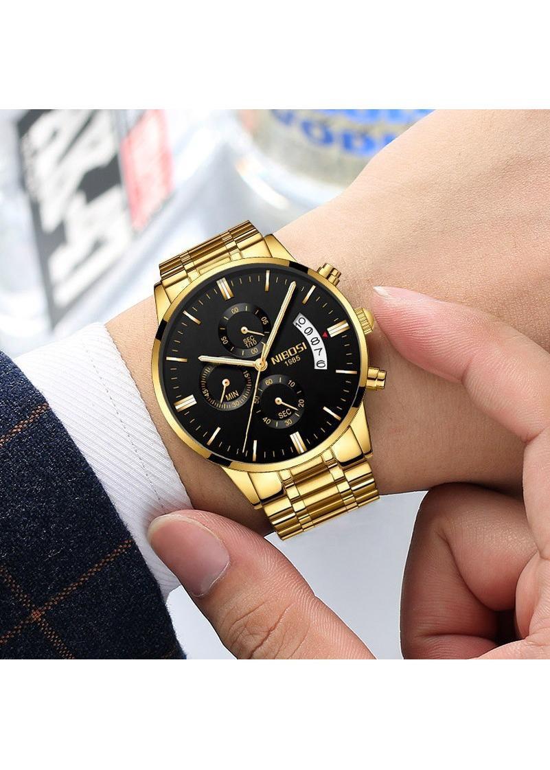 Đồng hồ thời trang công sở nam NIBOSI chính hãng NI2309.01 fullbox, chống nước - Mặt kính mineral, chạy full 6 kim, dây hợp kim cao cấp không gỉ
