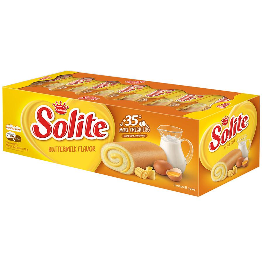 Khay 20 Gói Bánh Solite Swissroll Vị Bơ Sữa - Kinh Đô (360g)