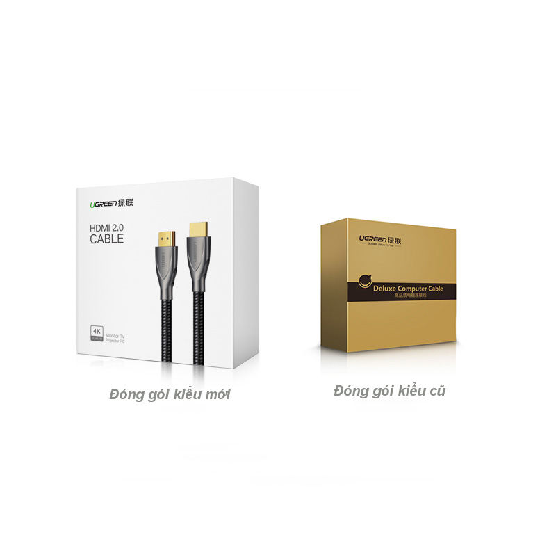 Cáp HDMI 2.0 Carbon chuẩn 4K@60MHz mạ vàng cao cấp dài 3m UGREEN HD131 50109 - Hàng Chính Hãng