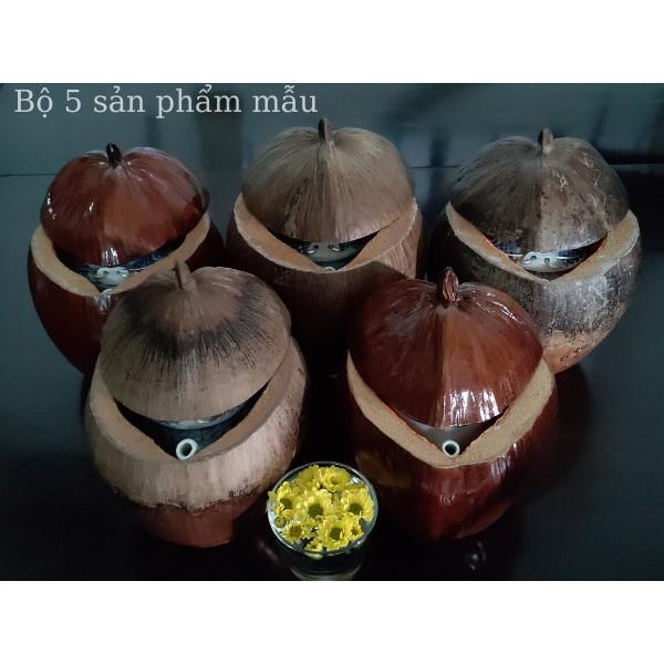 Bộ Giữ Ấm Bình Trà Vỏ Dừa Sơn Bóng Màu Nâu Đỏ - Bình Trà 400 - 700ml