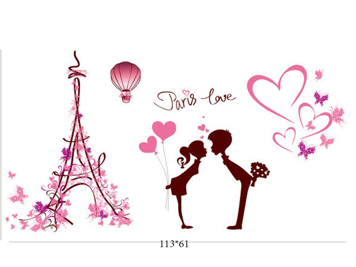 Decal dán tường tháp tình yêu