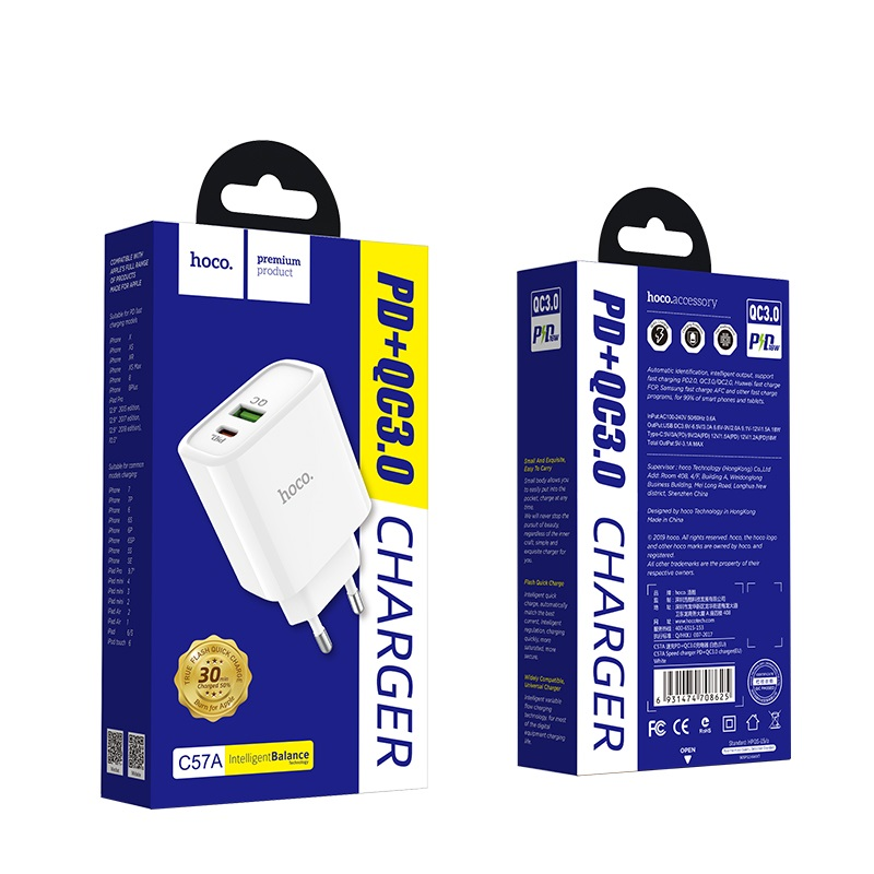 Củ Sạc Hoco C57A - Hỗ trợ sạc nhanh QC3.0 - Hàng Chính Hãng + Tặng Kèm 1 Ghế Đỡ Điện Thoại Đa Năng T2