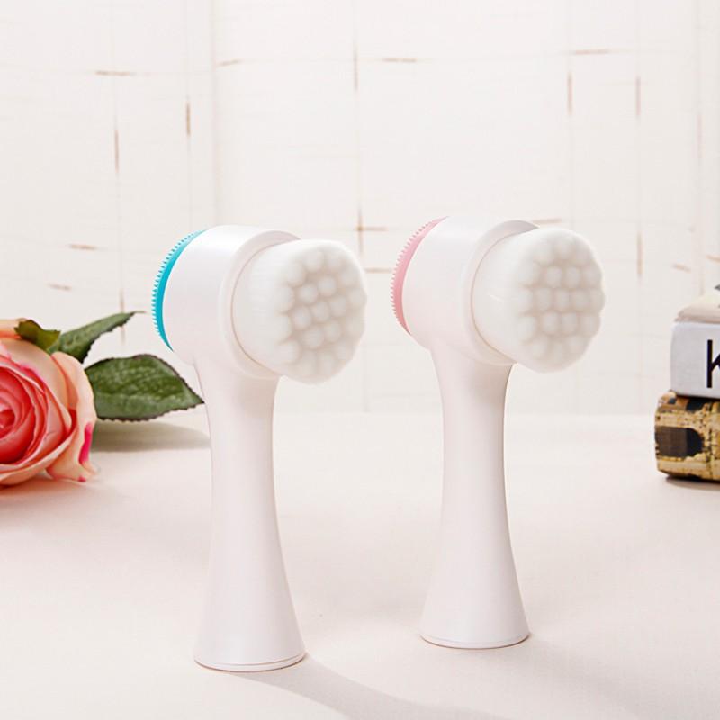 Cọ Rửa Mặt Massage 2 Đầu Cầm Tay Silicon Siêu Sạch Mềm Mịn An Toàn Cho Da  - MP083