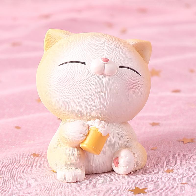 Tượng trang trí mèo con chân trái tim dễ thương