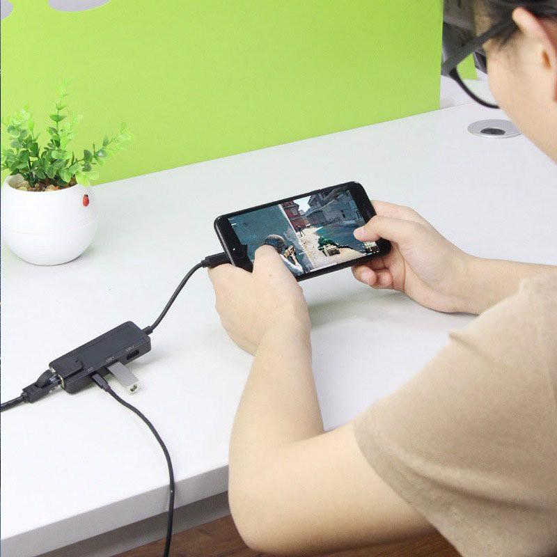 Bộ Dock chuyển Lightning sang cổng mạng LAN RJ45, 2 cổng USB gắn chuột bàn phím kèm cổng sạc cho iOs iPhone, iPad- Aturos OT75 - Hàng nhập khẩu
