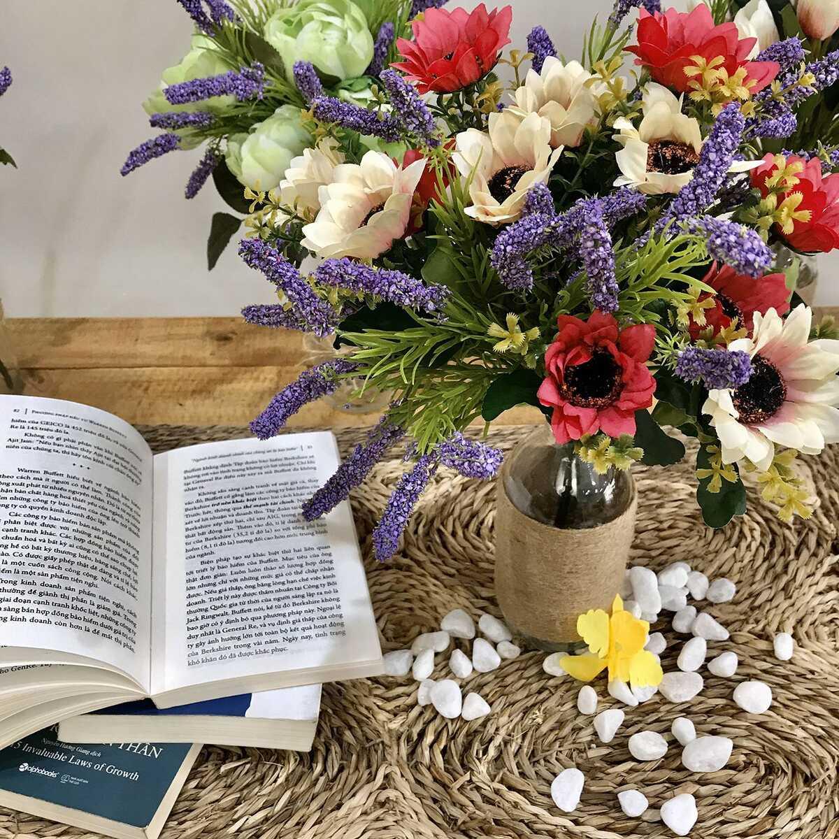 Bình Hoa Giả Hoa Cúc Màu Vintage Hoa lụa để Bàn
