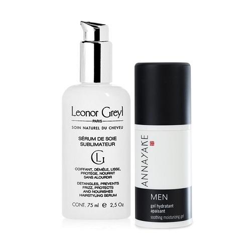 bộ đôi gel dưỡng ẩm cao cấp dành cho Nam và Serum dưỡng suôn mượt tóc 48h, chống tia UV Leonor Greyl