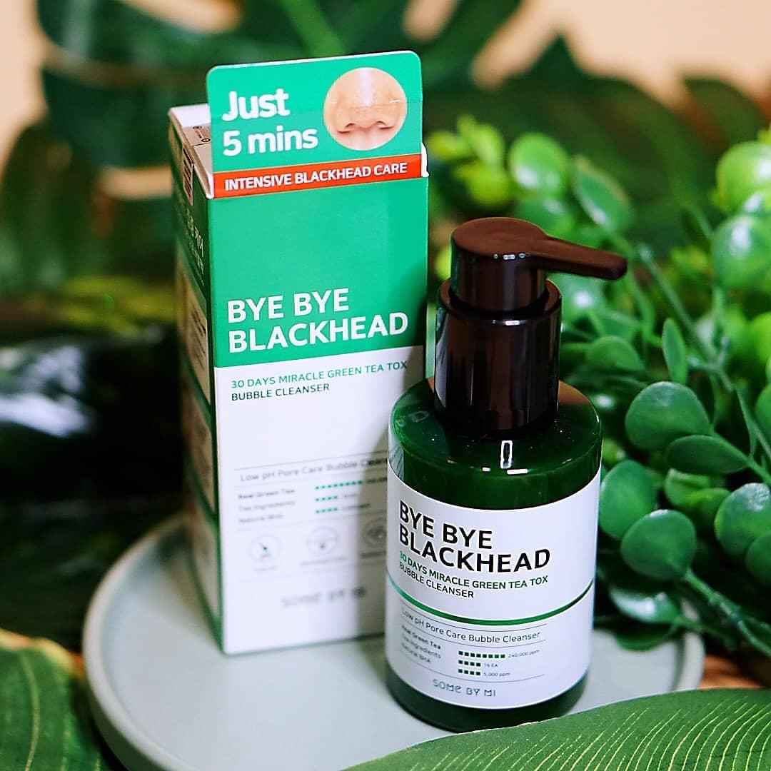 Sữa Rửa Mặt Sủi Bọt giảm thiểu Mụn Đầu Đen Some By Mi Bye Bye Blackhead 30 Days Miracle Green Tea Tox Bubble Cleanser 120ml