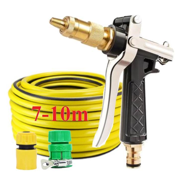 Bộ dây vòi xịt nước rửa xe, tưới cây đa năng, tăng áp 3 lần, loại 7m, 10m 206236  đầu đồng,cút,nối PE