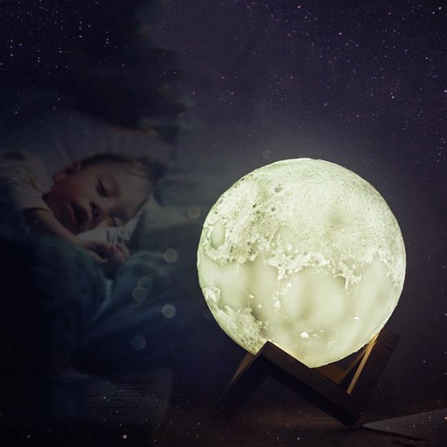 Đèn ngủ không dây mặt trăng cảm ứng 3D 3 chế độ sáng pin sạc usb