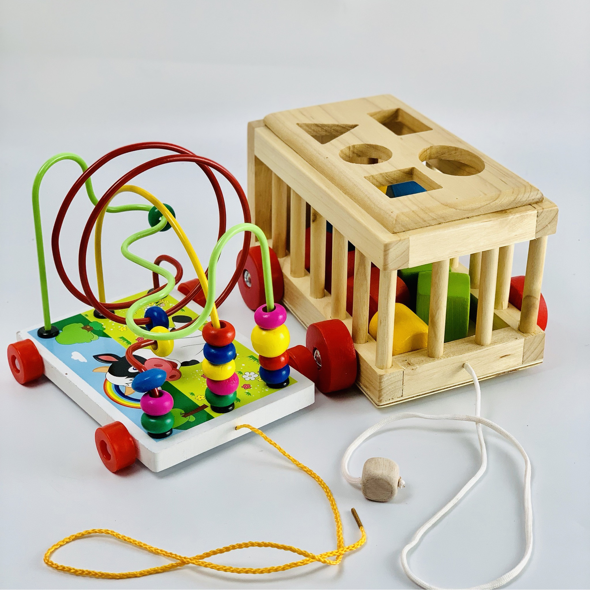 Combo xe thả hình và xe luồn hạt- đồ chơi trí tuệ Mykids