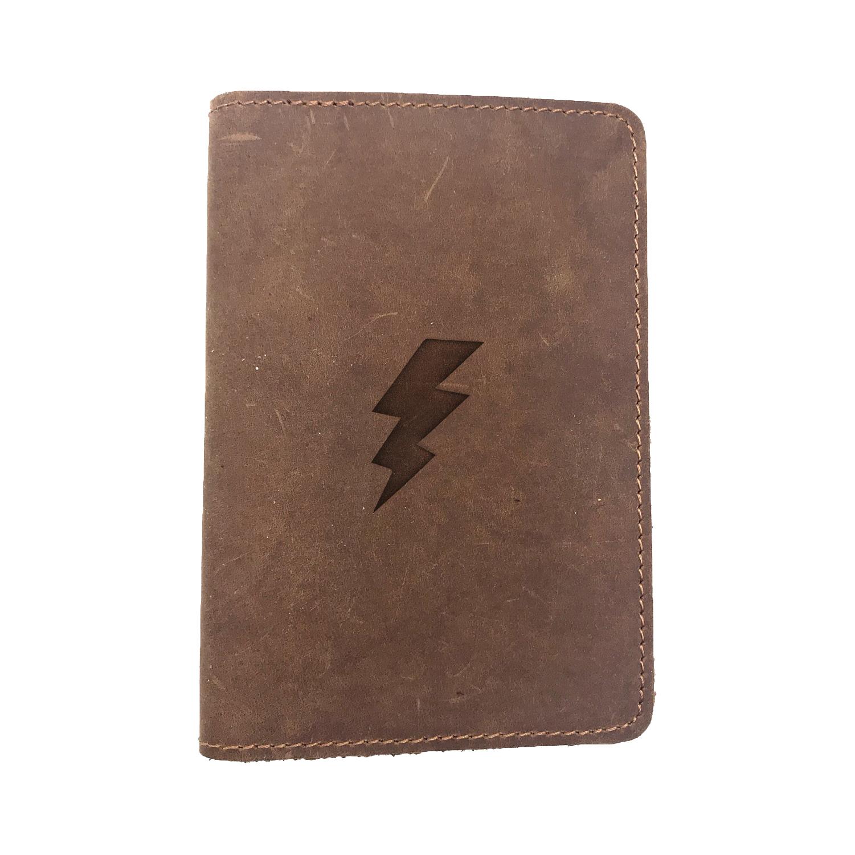 Passport Cover Bao Da Hộ Chiếu Da Sáp Khắc Hình Sấm LIGHTNING BOLT (BROWN)