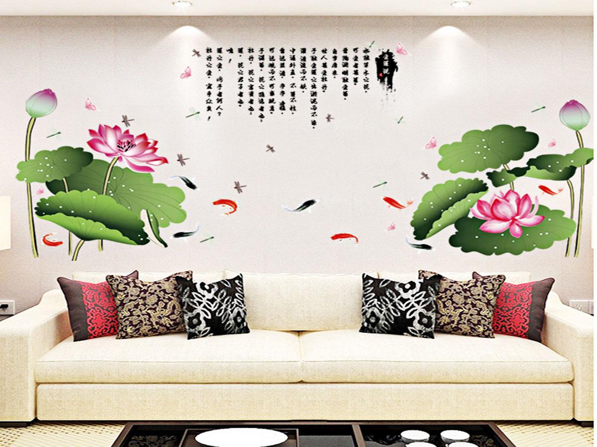 decal dán tường hoa sen hồng tán lá xanh 2 mảnh sk2015