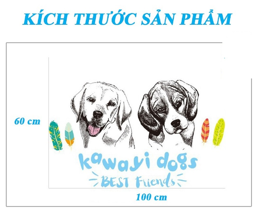 Decal dán tường đôi cún dễ thương Kawaiyi Dogs - Trang trí quán độc đáo