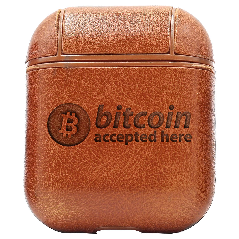 Bao Da Cover Apple Airpods 1 / 2 Premium  Khắc Hình Logo Bitcoin Accepted Here