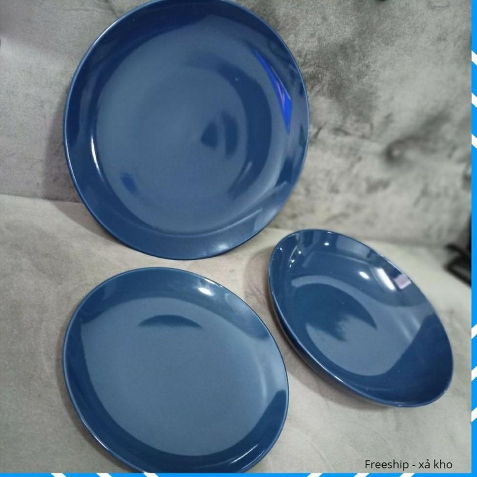Combo 3 Đĩa sứ pastel xanh 8.2 inch 21cm