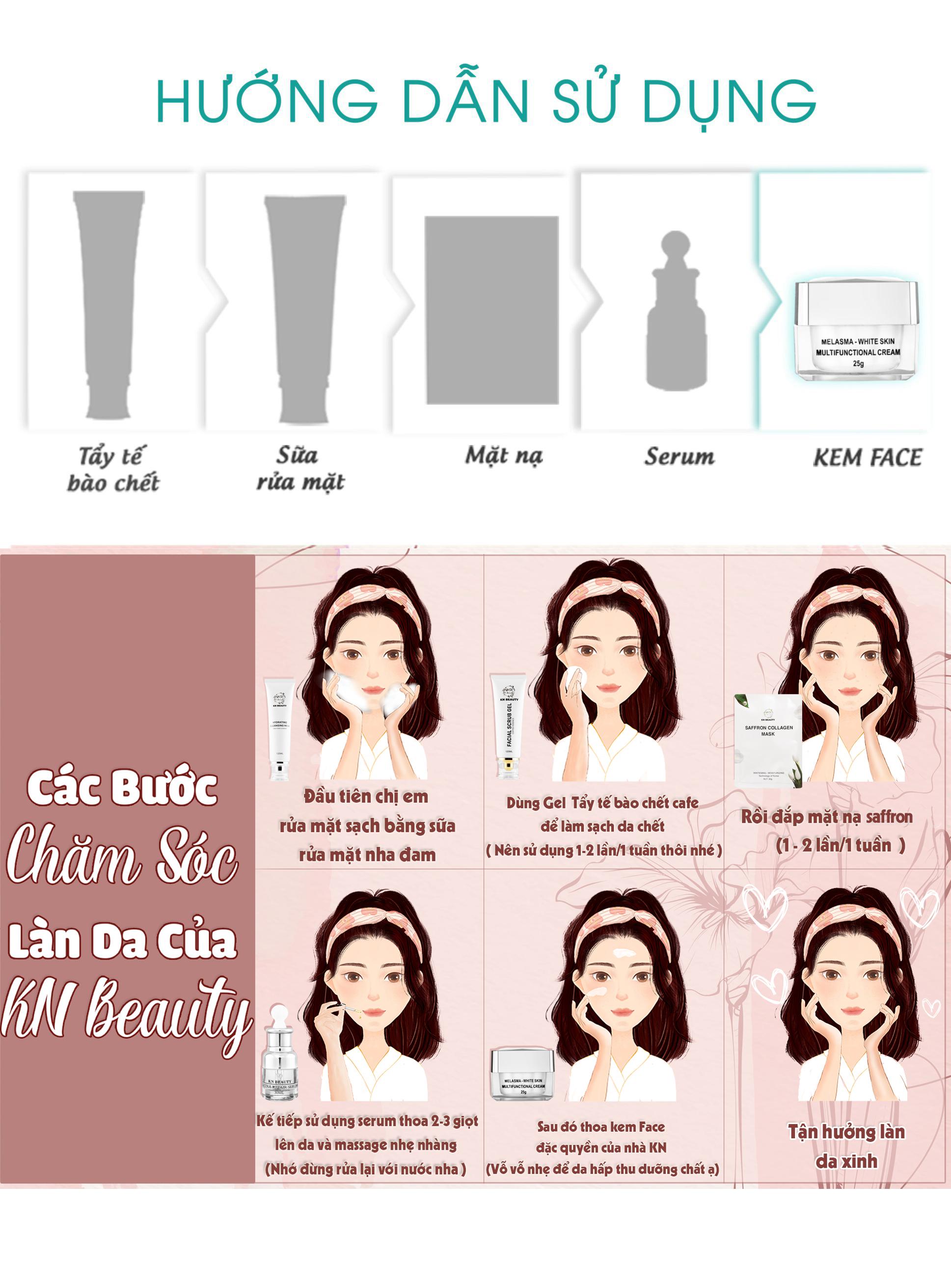 Bộ 2 sản phẩm Trắng Da Ngừa Nám KN Beauty chuyên sâu: Kem dưỡng 25g + Serum 30ml