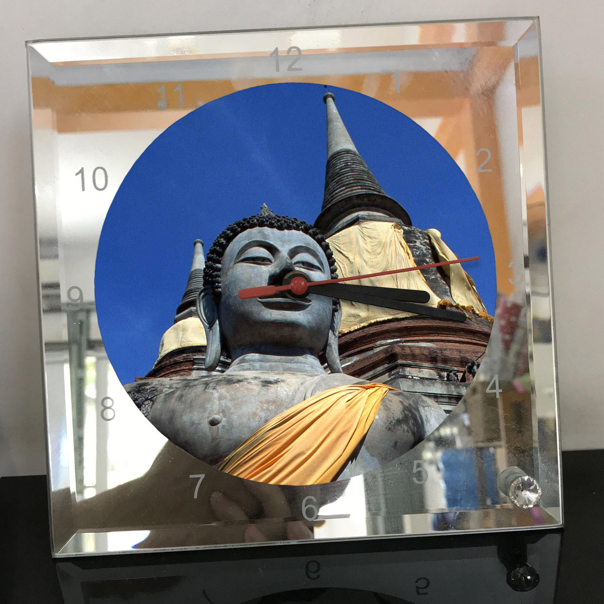 Đồng hồ thủy tinh vuông 20x20 in hình Buddhism - đạo phật (84) . Đồng hồ thủy tinh để bàn trang trí đẹp chủ đề tôn giáo