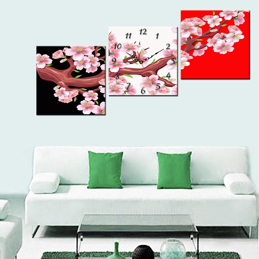 Tranh treo tường, tranh đồng hồ PP_ NT374 bộ 3 tấm ghép