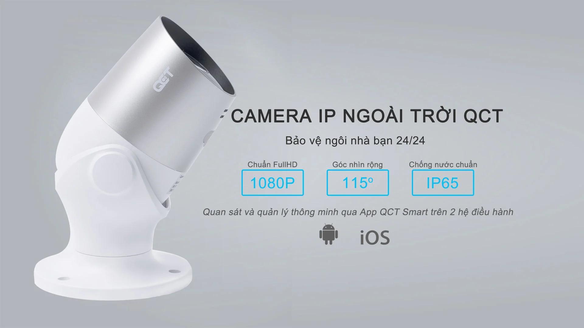 Camera ngoài trời IP QCT 1080P Quốc tế QCTRN001 - Hàng Nhập Khẩu