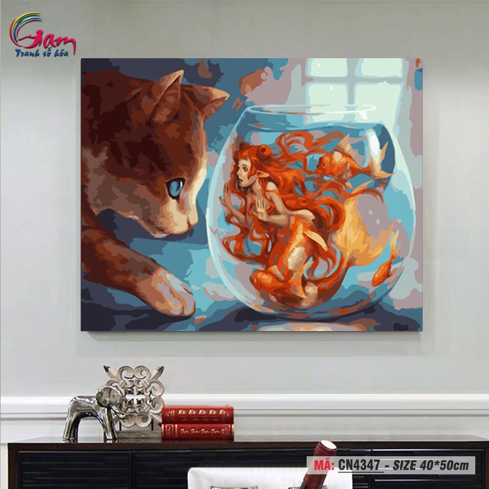 Tranh trang trí treo tường sơn dầu tự tô Gam chú mèo và nàng tiên cá CN4347