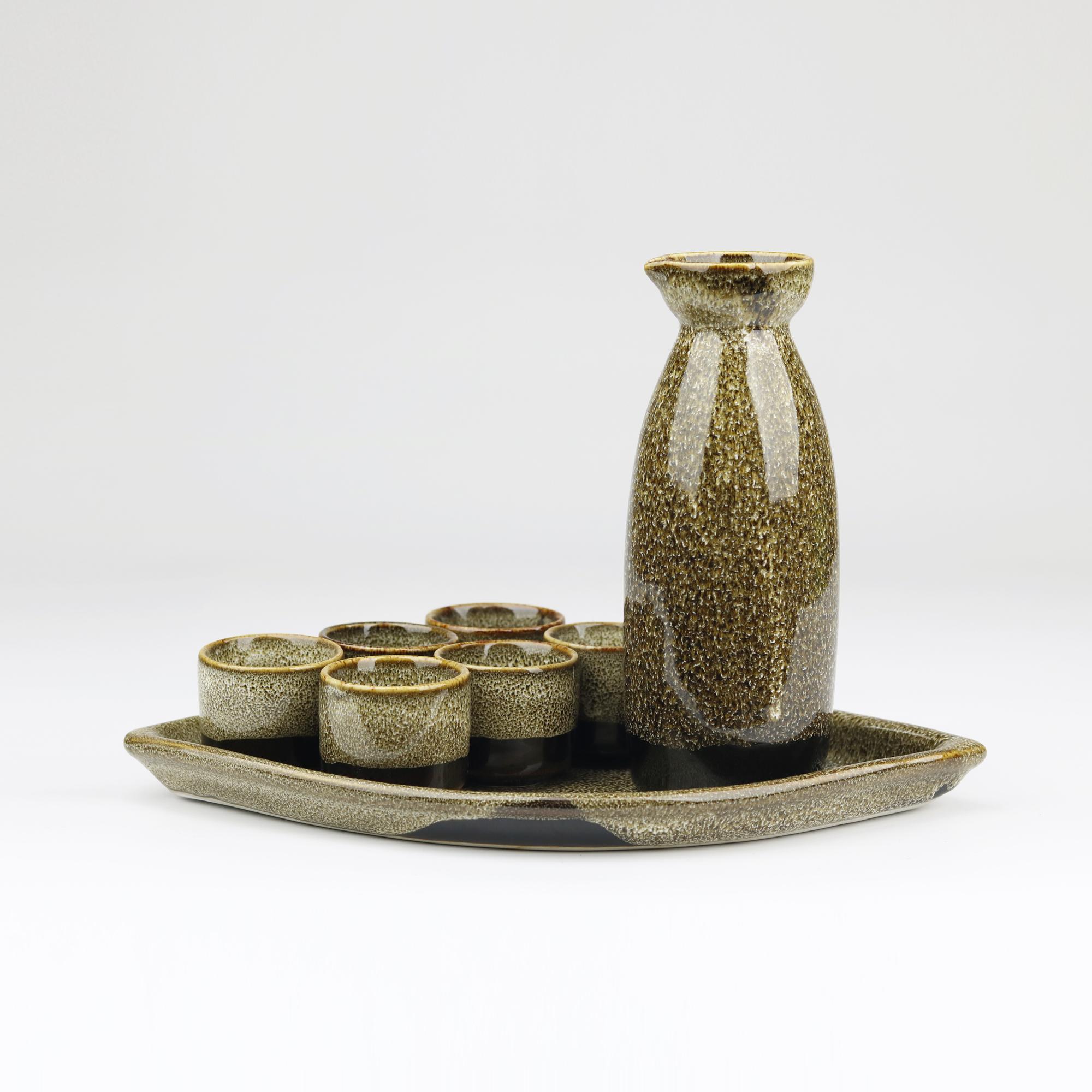 Bộ Sake gốm sứ men hỏa biến Bát Tràng cao cấp-300ml- Đĩa quạt