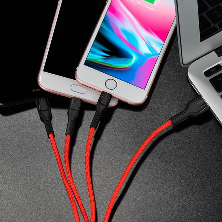 Cáp sạc đa năng 3 cổng sạc (Lightning + Micro USB + Type C) Hoco sạc được cùng lúc nhiều thiết bị, dây cáp bọc dù, chống đứt, chống rối, chống gãy gập dành cho điện IOS và Android dài 120cm, U31 - Hàng chính hãng