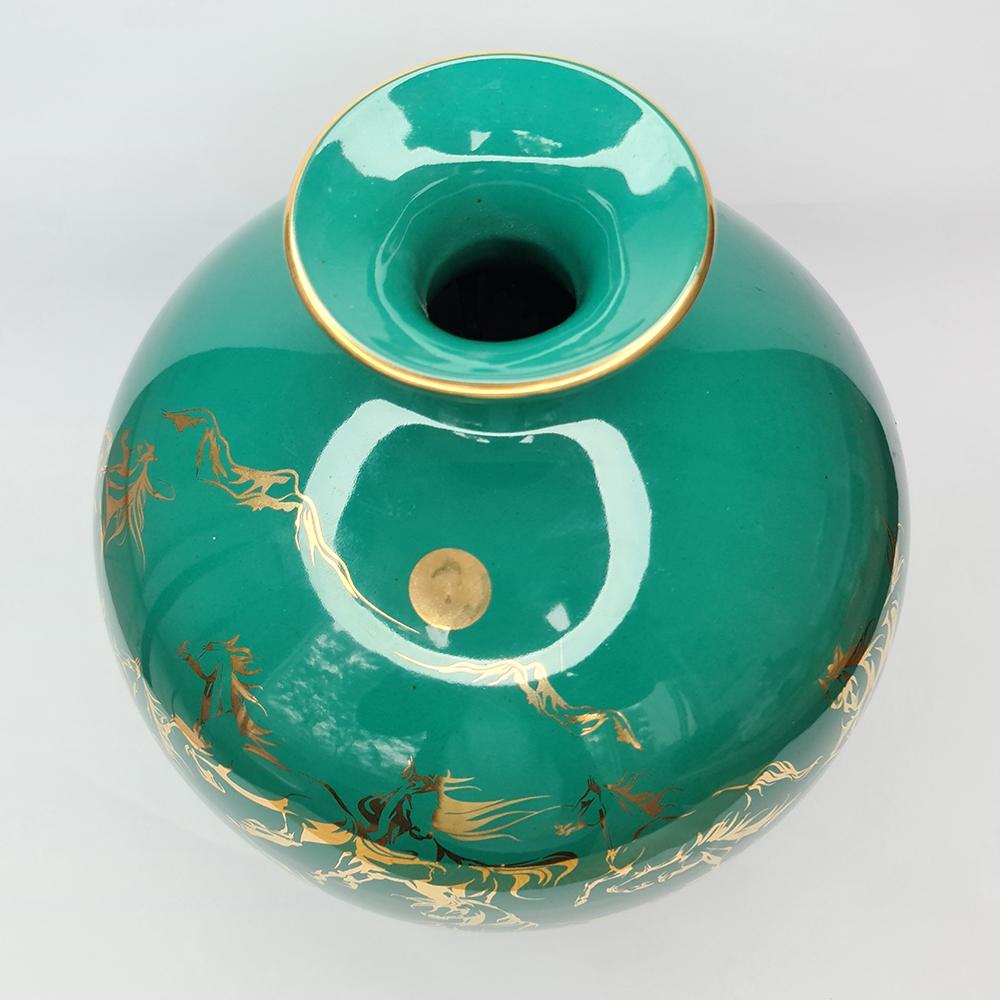Bình Hút Lộc Gốm Sứ Xanh Ngọc Vẽ Vàng Bát Mã - Mã Đáo Thành Công - S2 - Mx