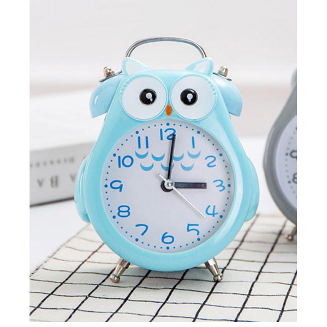 Đồng hồ báo thức kim loại hình thú đáng yêu, đồng hồ chuông đôi cao cấp