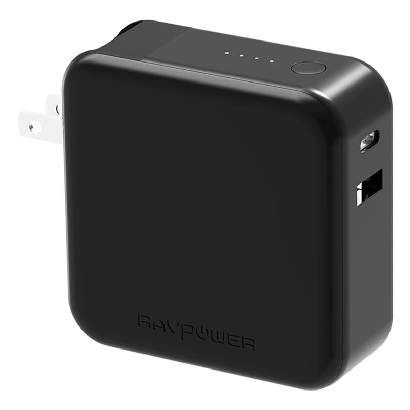 Pin Sạc Dự Phòng RAVPower 5000mAh RP-PB101 Tích Hợp USB Type-C In/Out Hỗ Trợ Sạc Nhanh PD Power Delivery 18W Kết Hợp Cổng Sạc Dạng Gập - Hàng Chính Hãng
