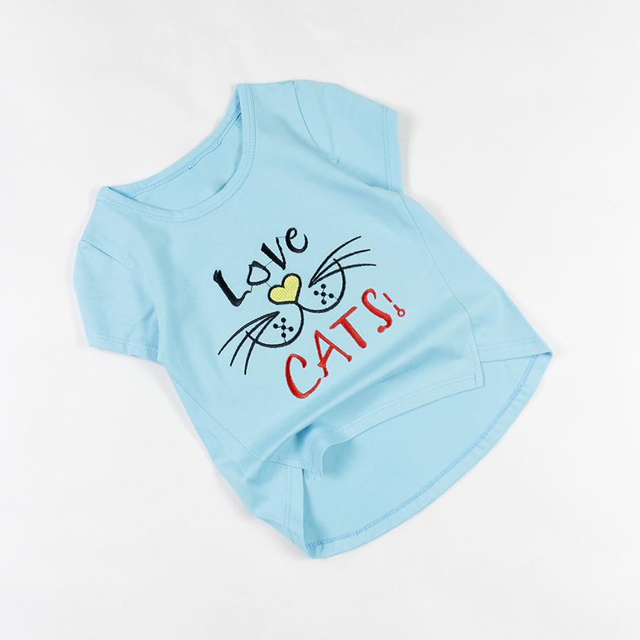 Áo thun xanh da trời thêu chữ Love Cats tay ngắn cổ tròn cho bé gái 0.5-7 tuổi từ 10 đến 24 kg 05982 - 3