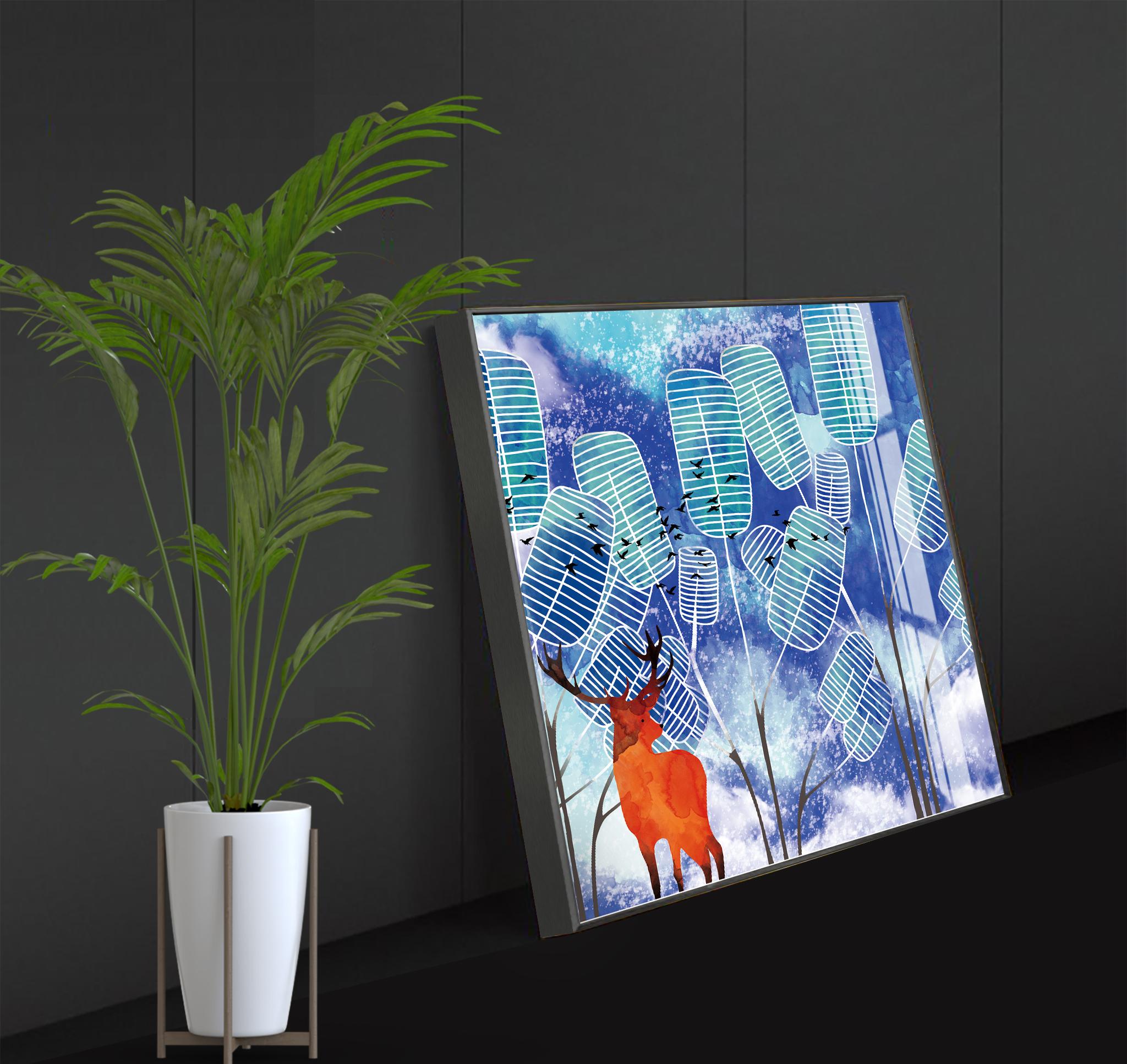 Tranh phong thuỷ Mica 3 bức Rừng lá và hươu vàng trừu tượng (Dương Liễu Mộc). Model: AZ3-0136
