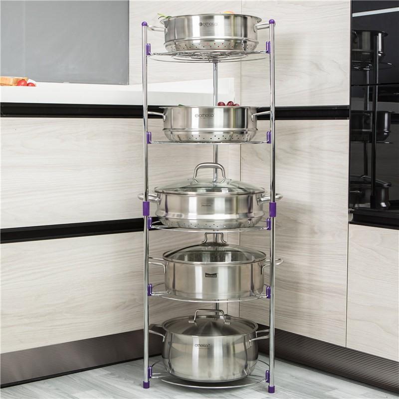 Kệ inox để xoong nồi- Giá để xoong nồi nhà bếp inox 5 tầng thông minh có thể tháo rời- KX01