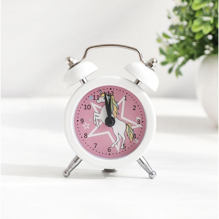 Đồng hồ báo thức để bàn mini Unicorn ngôi sao trắng 5x8cm