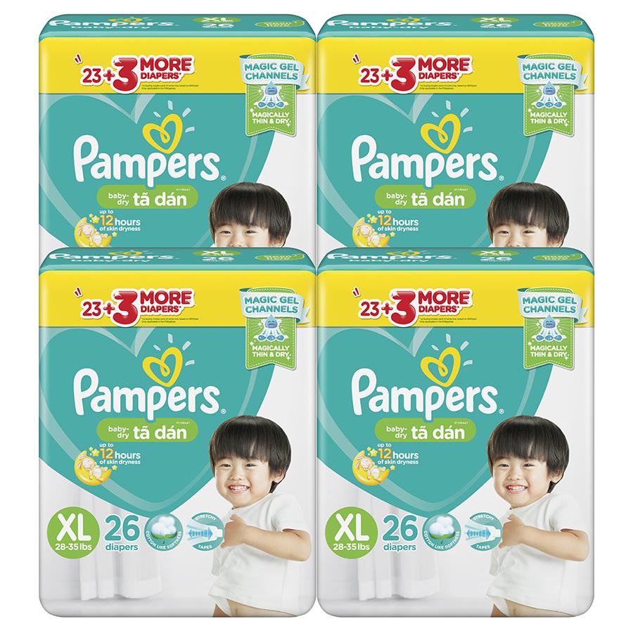 Combo 4 Tã Dán Pampers Baby Dry Gói Đại - Size XL XL26 26 Miếng