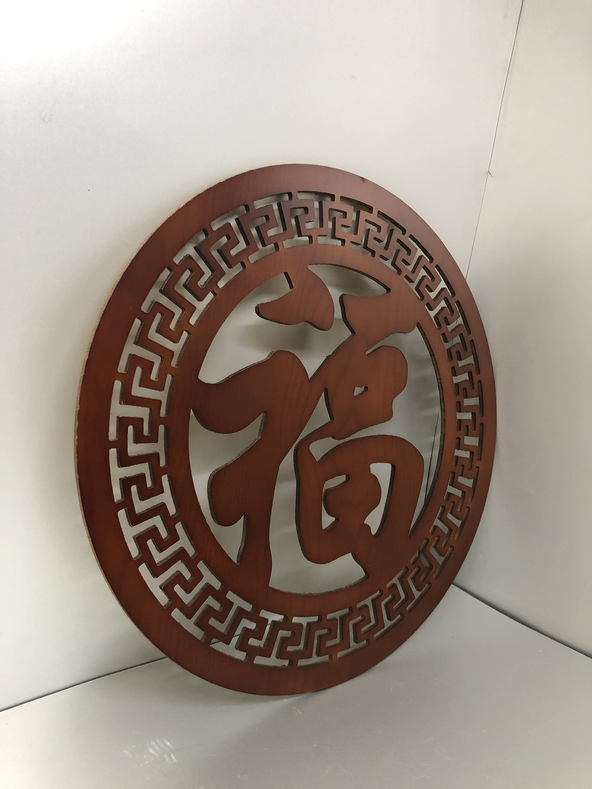 Tấm trang trí bàn thờ treo tường chữ Phúc hán, phun mầu nâu gỗ - BH29