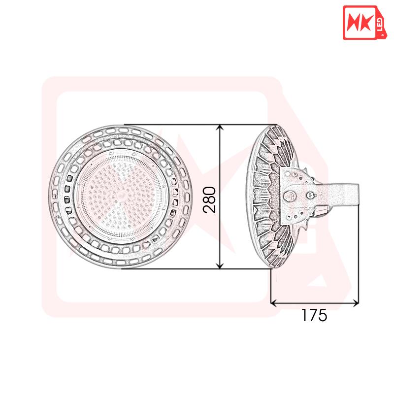 HKLED - Đèn nhà thi đấu, nhà xưởng UFO 100W - DNXU100
