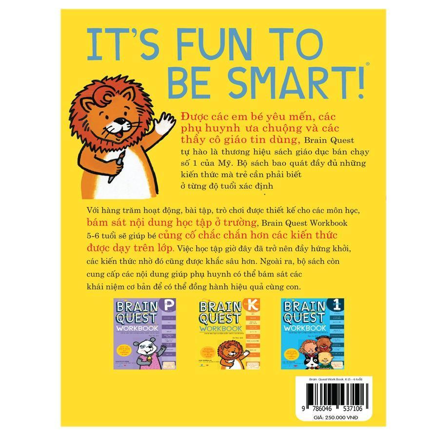 Sách :Braint Quest WorkBook K - Học tập sớm, sách cho bé ( 5 - 6 tuổi )