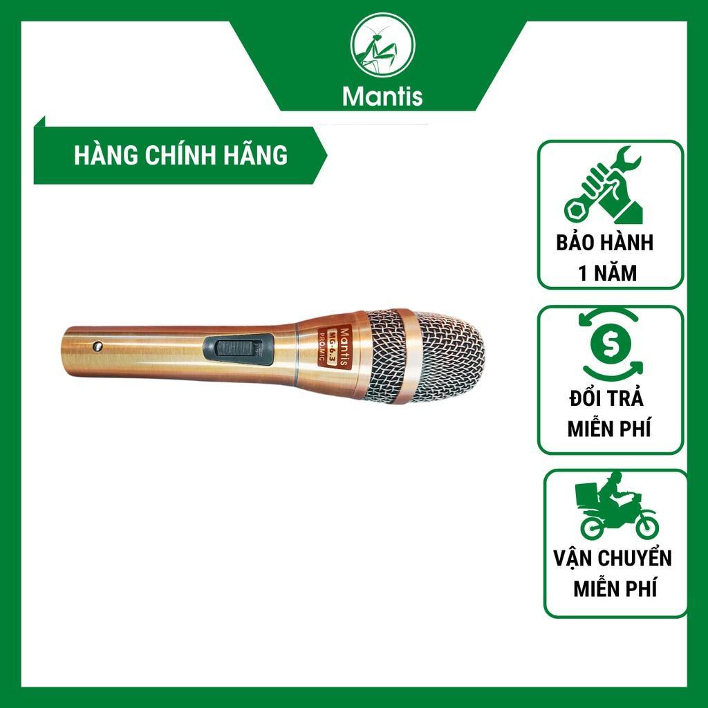 Micro Hát Karaoke Có Dây Mantis MG-6.3 Có Dây Dài 6m cầm nặng tay