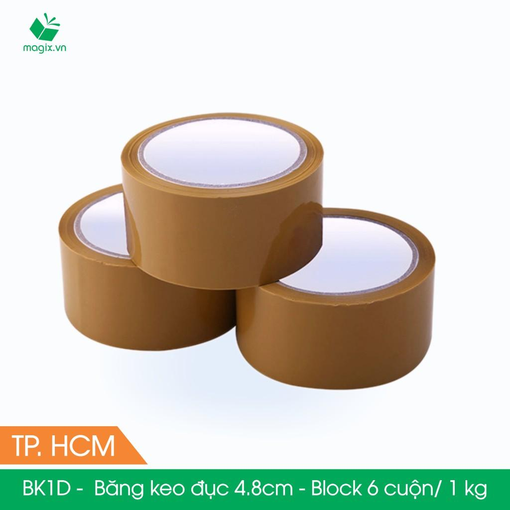 BK1D -  Băng Keo Đục - 4.8cm - Block 6 cuộn/kg - Bộ 6 cuộn băng dính đục đóng thùng hộp carton