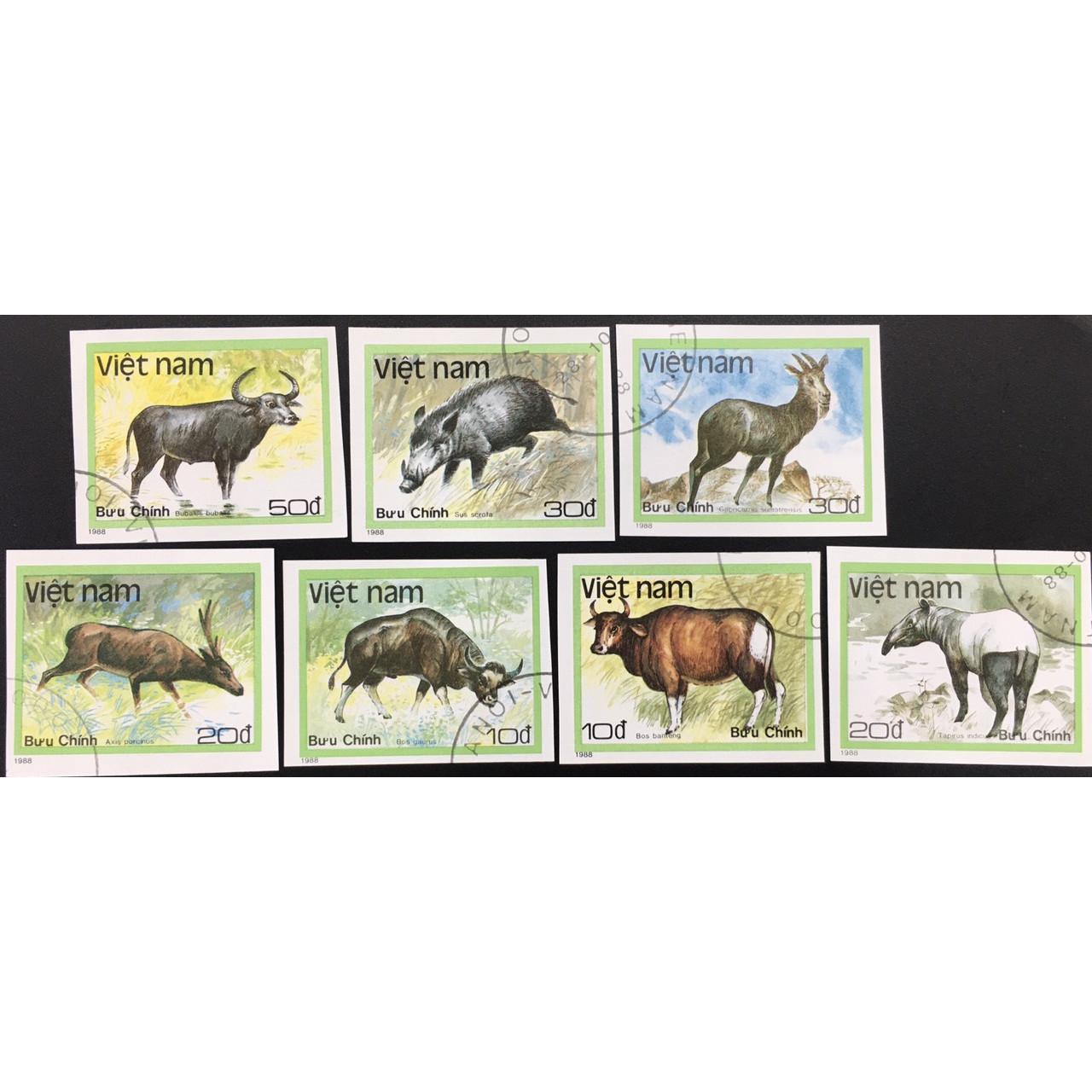 Bộ Tem Sưu Tầm Việt Nam 1988 Không Răng Chủ Đề Động Vật Hoang Dã - 7 Con Stamps