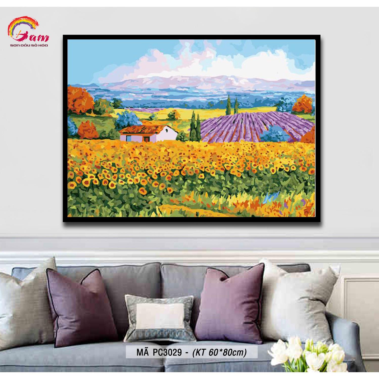 Tranh tô màu theo số sơn dầu số hóa Gam khổ lớn Tranh phong cảnh cánh đồng hoa PC3029