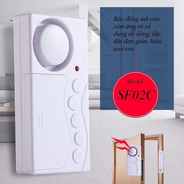 Thiết bị báo động mở cửa cảm ứng từ  thông minh SF02C ( Dùng báo động, báo khách khi có cửa mở - Tặng kèm pin )