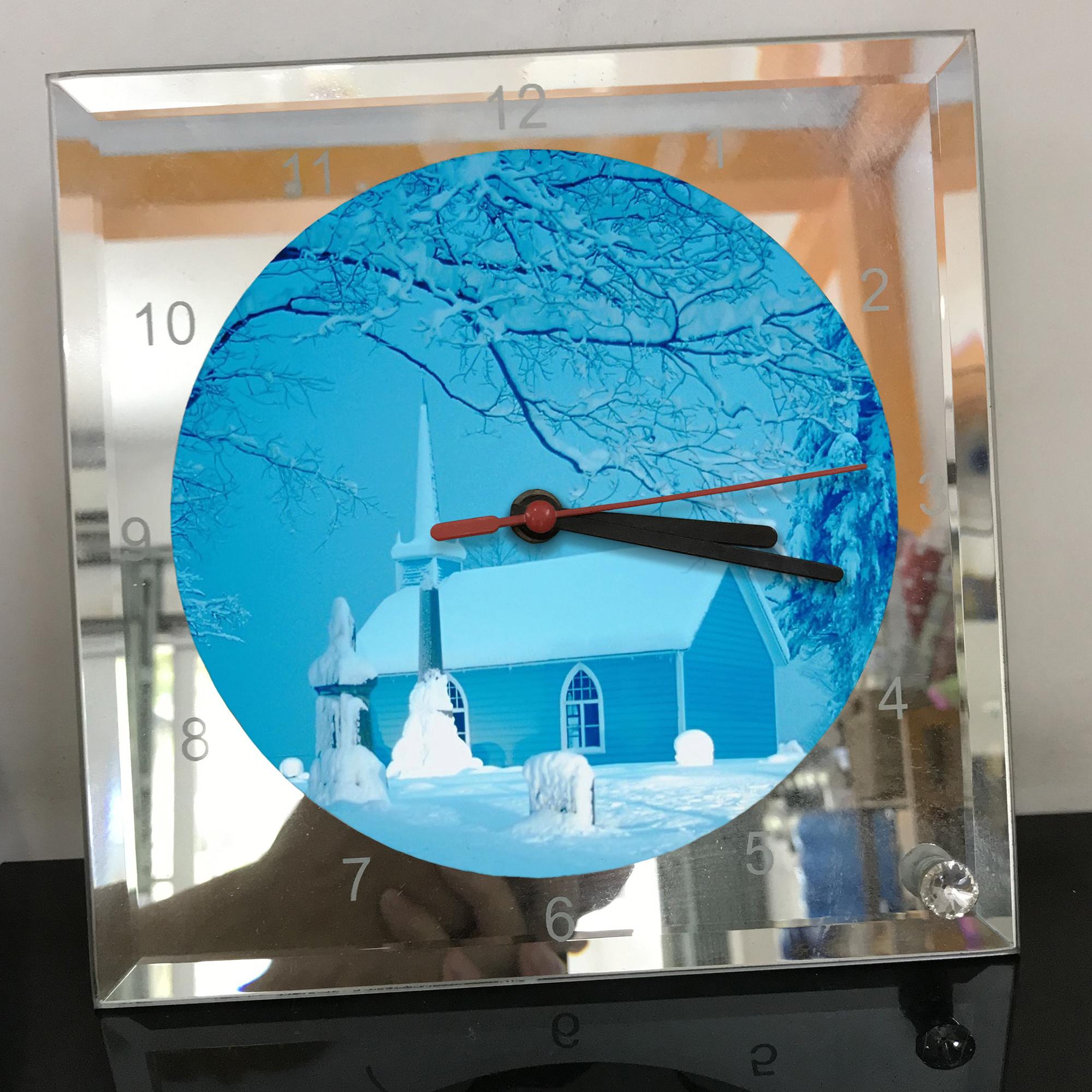 Đồng hồ thủy tinh vuông 20x20 in hình Church - nhà thờ (142) . Đồng hồ thủy tinh để bàn trang trí đẹp chủ đề tôn giáo