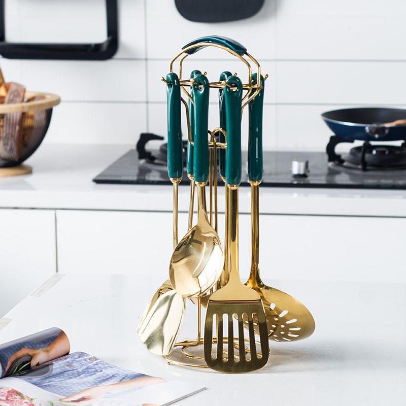 Bộ dụng cụ nhà bếp muỗng , thìa , đảo đồ ăn mạ vàng cao cấp GV123