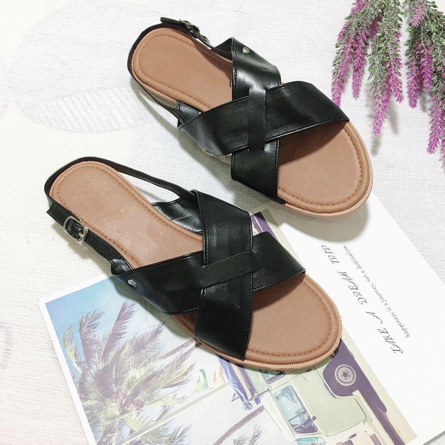Sandal nữ đế bằng quai chéo da mềm siêu xinh-SB2