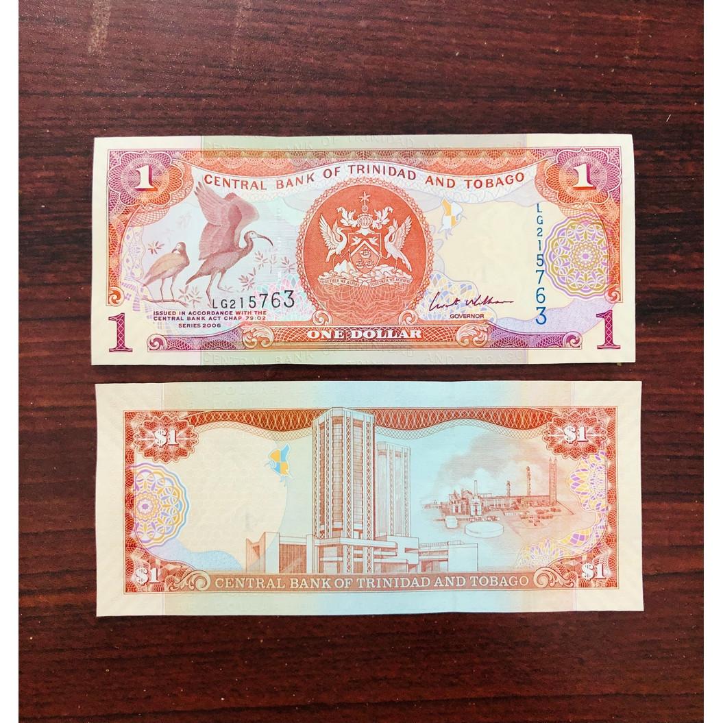 01 Tờ tiền giấy Trinidad and Tobago 1 Dollar hình chú chim cực đẹp - kèm bao lì xì