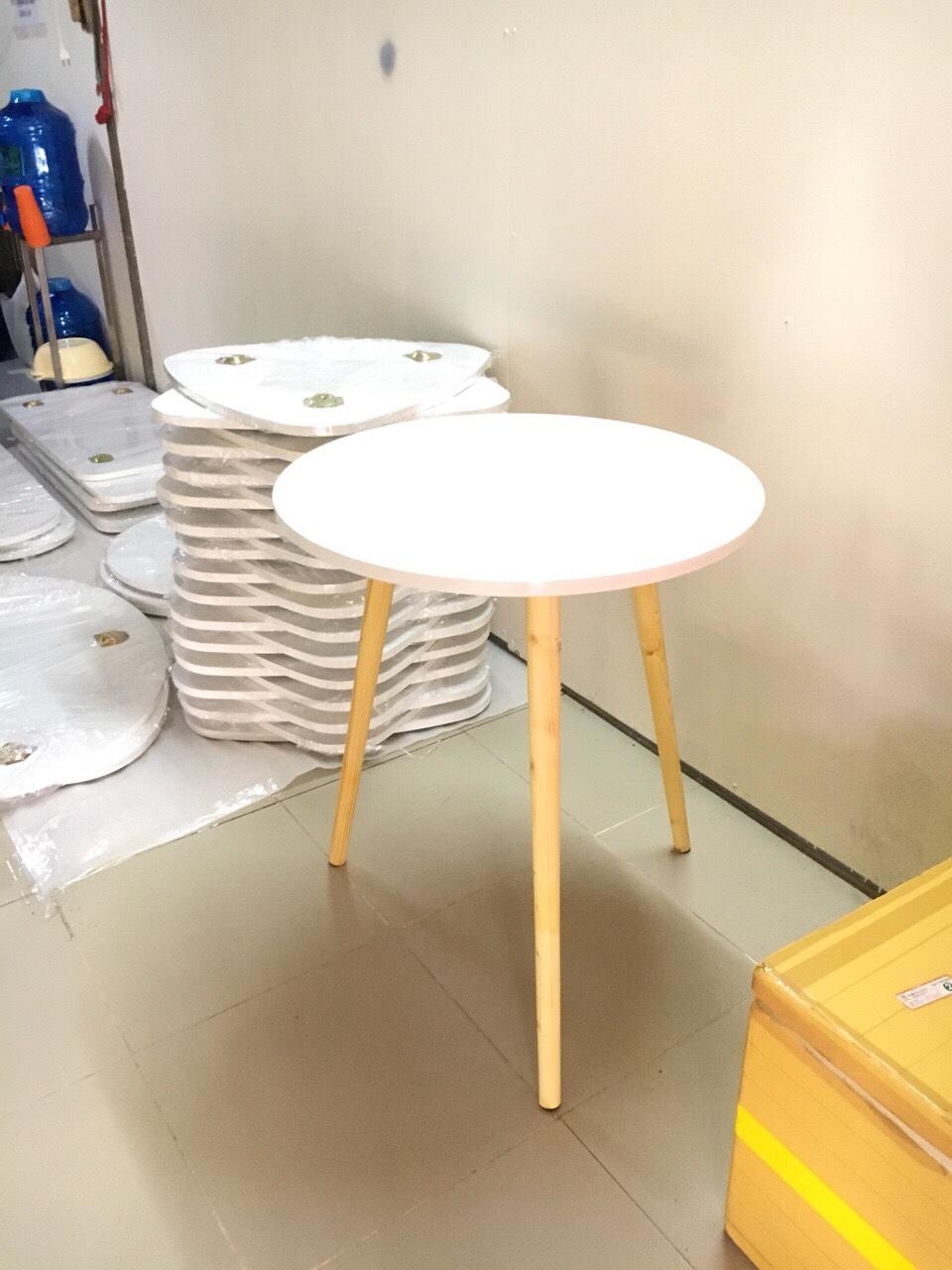 Bàn trà, bàn ăn tròn trắng 60x72, bàn cafe phòng khách, bàn coffee, bàn gỗ cà phê