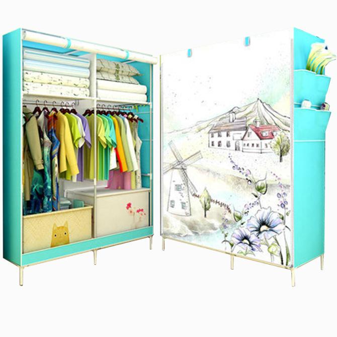 Tủ vải quần áo 3D 2 buồng 6 ngăn tiện dụng