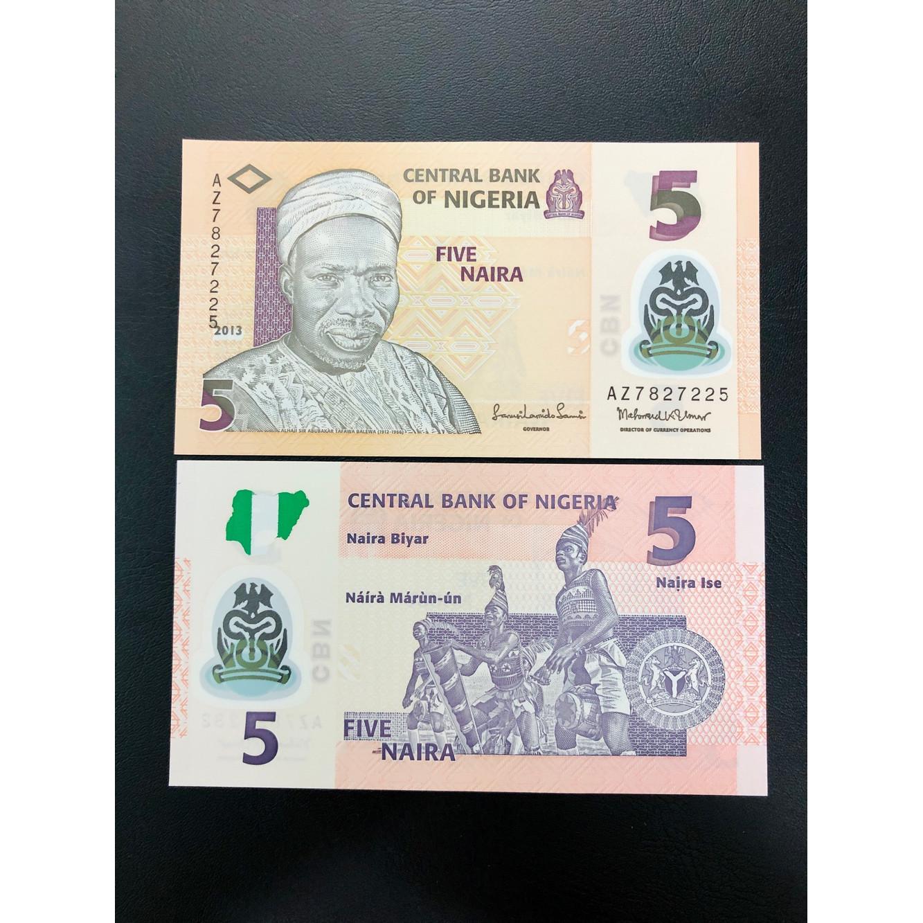 Tờ tiền đất nước Nigeria xưa 5 Naira bằng polyme